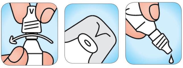 Схема відкриття флакону крапель назальних